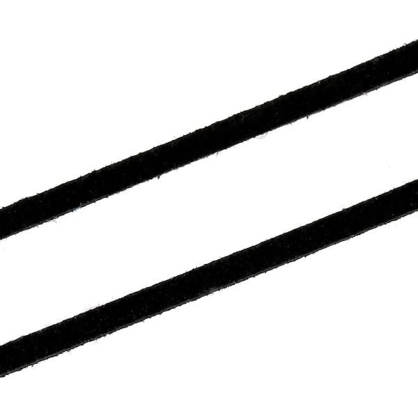1 Meter Veloursleder Schnur schwarz